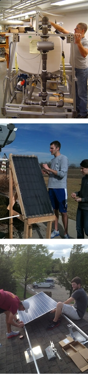 KU Mechanical Engineering students work on senior projects, including pumping systems and solar power.