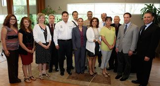 Representatives of the government of Mexico are included among those who gathered for a recent tour of the University of Kansas Medical Center.