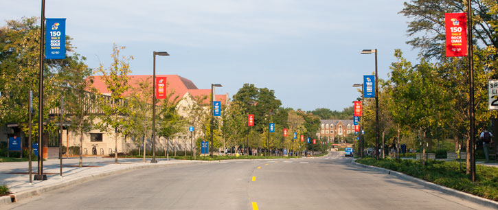 Jayhawk Boulevard with 150 year banners