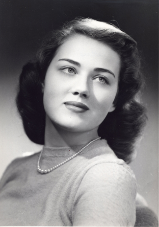 Polly Owen Lovitt as a KU senior in 1952