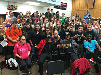 In October, in addition to a public performance, Black Violin performed and interacted with students at Free State and Lawrence High Schools.