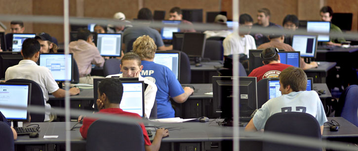 Students in the engineering computer lab