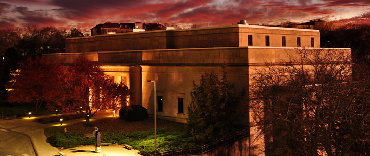 Spencer Museum of Art at sunset